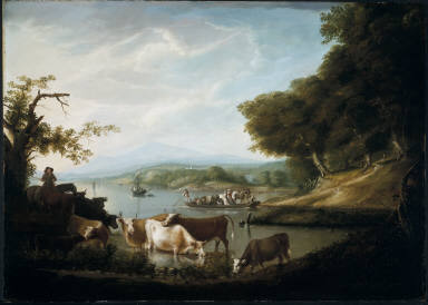 A Calm Watering Place--Extensive and Boundless Scene with Cattle