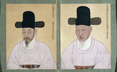 [Double Portrait; Cho Chae-ho, Duke of Pung won (born im-o) and Cho Hyun-myong, Duke of Pung won (born simmi), Cho Chae-ho, Duke of Pung won (born im-o)]