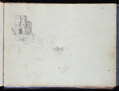 (Untitled, landscape with building fragment)