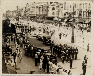 Post and Gatty in parade on Canal Street