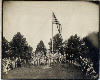 Flag raising at City Park, World War I