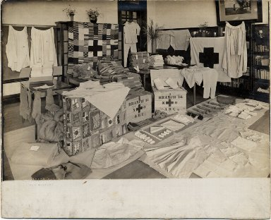 Red Cross clothes display