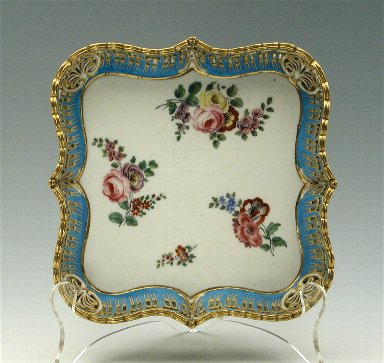 [Square Tray with Bracket-Shaped Sides and Floral Sprays, Sévres soft-paste porcelain tray]