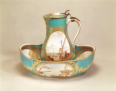 [Water Jug with Marine Scenes, Turquoise Blue Ground, soft-paste porcelain water jug]