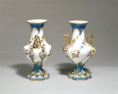 [Vase with Floral Garlands, Partial Turquoise Blue Ground, Duplessis soft-paste porcelain vase]