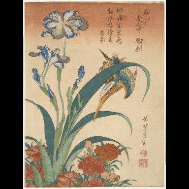 WOODBLOCK PRINT: Kingfisher with Irises and Pinks