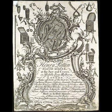 TRADE CARD of Henry Patten, razor-maker and cutler