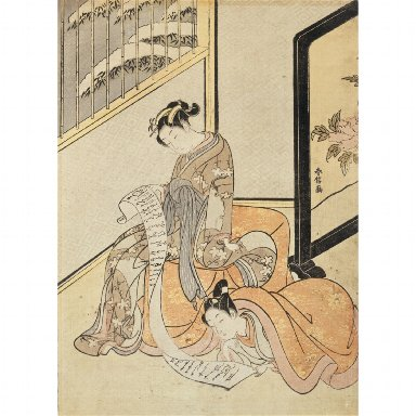 WOODBLOCK PRINT: A courtesan and her lover reading a letter