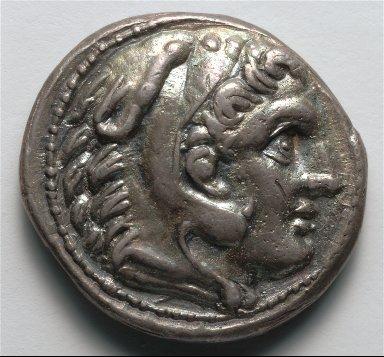 Tetradrachm: Head of Youthful Herakles in Lion's Skin (obverse)