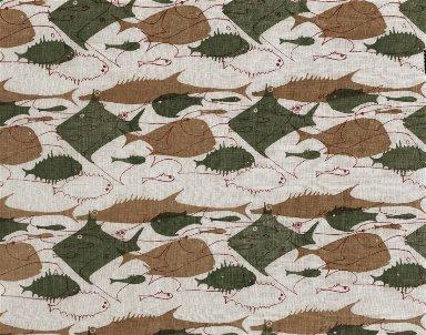 Screen Printed Rayon Textile: 'Fish School'