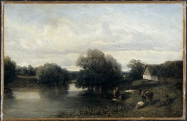 Cottage by the River with Washerwomen