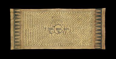 Sacred textile (mawa') depicting tadpoles and water buffalo
