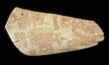 Incised bone depicting an accession ceremony