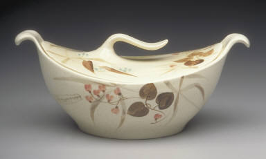 'Futura' shape covered casserole dish with 'Random Harvest' pattern decoration