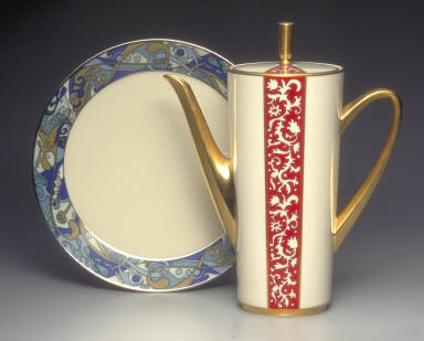 'Innovation' shape plate with 'Fantasies' pattern decoration