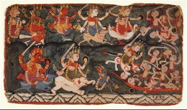 The Goddess Ambika Leading the Eight Mother Goddesses in Battle Against the Demon Raktabija, Folio from a Devimahatmya (Glory of the Goddess)
