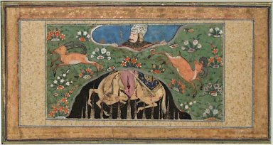 Raksh, the Steed of Rustam, Impaled in a Pit, Page from a Manuscript of the Shahnama