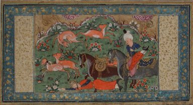 Bahram Gur Tramples a Bearded Figure Under the Hooves of His Horse, Page from a Manuscript of the Shahnama of Firdawsi
