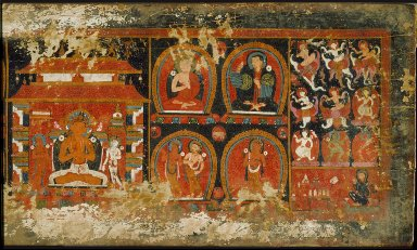 Enshrined Manjusri with Monks and Deities, Cover of a Prajnaparamita (The Perfection of Wisdom)