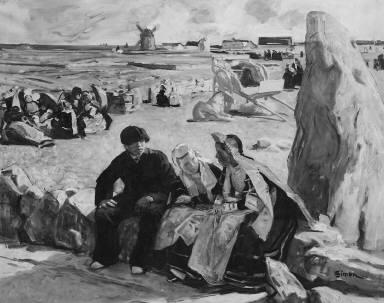 Breton Peasants Seated beside a Menhir