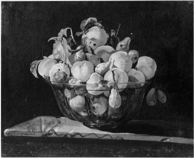 Peaches and Pears in a Glass Bowl