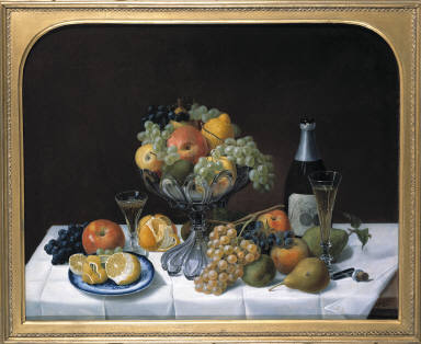 Fruit Still Life with Champagne Bottle