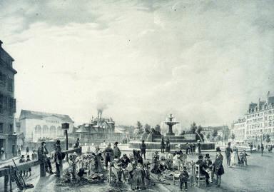 Le Chateau D'Eau. Marché aux Fleurs. Fountain of the Boulevart St. Martin, Flower Market.