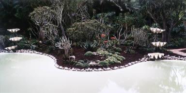 Aloe Garden with pond, Lotusland, Montecito, California