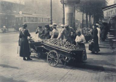 French street scene, vegetable peddler's carts