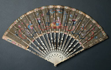 Folding Fan: Figures and Ornaments in Applique