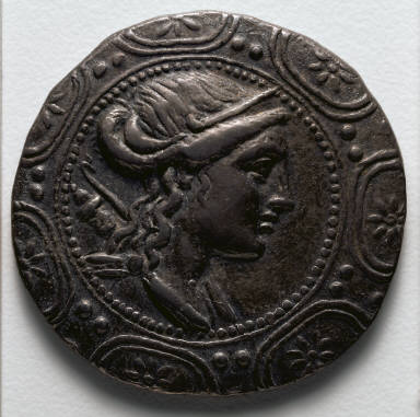 Tetradrachm: Macedonian Shield with Bust of Artemis (obverse)