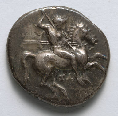 Stater: Naked Horseman with Spears and Shield (obverse)