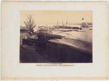 Railroad Wharf, Alexandria, Virginia. View from Battery Rodgers. Fifteen Inch Gun in Foreground