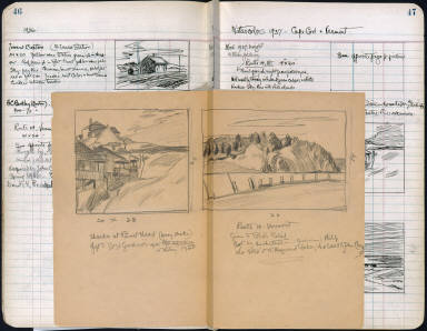 Artist's ledger - Book II: loose sheet thumbnails of SHACKS AT PAMET HEAD and ROUTE 14 VERMONT