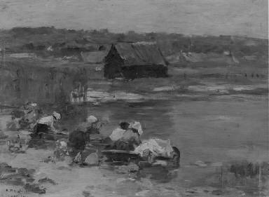 [Washerwomen at the Edge of the Pond, Washerwomen at the edge of a pond.]