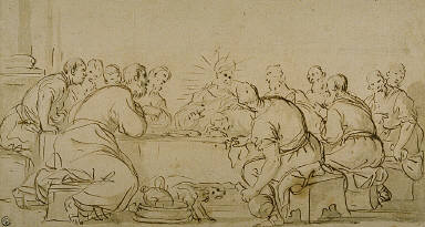 [Last Supper, Copy, Final Published Work: Last Supper, Agostino Carracci, painting, Madrid, Prado]
