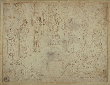 [Study for an Invitaion to the Defense of a Doctoral Thesis, Study for an Allegory in Honor of the Duke of Mantua, Final Published Work: The Duke of Mantua with the Six Principal Deities, engraving by Oliviero Gatti after Ludovico Carracci, B.XIV, no.46]