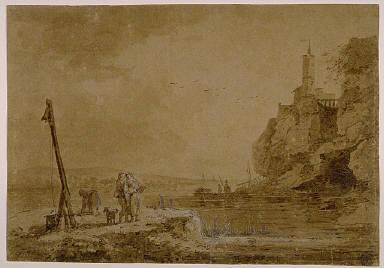 [Small Harbor Beneath Cliffs, Seashore and Castle, Landscape with Five Figures]