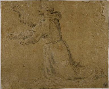 Kneeling Monastic Saint with Raised Arms