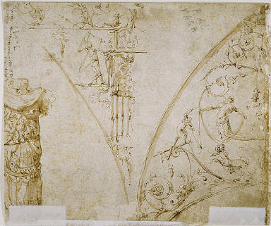 Sketches of Grotesques, and Roman Cuirass.