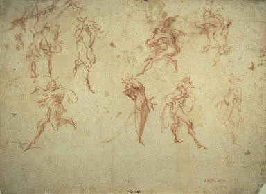 """[Sketches for the Balli di Sfessania, Sketches of Dancers, Sketches of Ballet Dancers, Grotesque Dancers: Eight Studies of Characters from the """"Commedia dell'Arte]"""