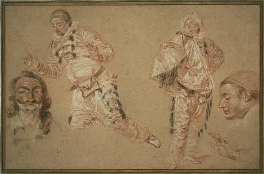 [Italian Comedians, Four Studies of Italian Actors, Four Studies of Men: (Italian Comedians), Four Studies of Comedians, Final Published Work: 'The Artist's Dream', oil on canvas, private collection, Great Britain, c.1719, 'The Italian Troupe on Vacation' (lost)]