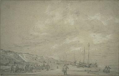 Fishermen Drying Nets on Scheveningen Beach