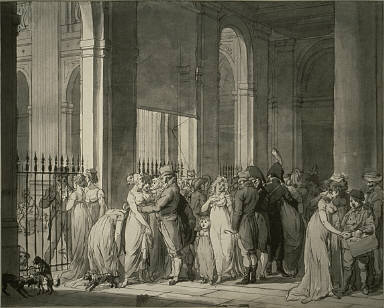 [The Arcades at the Palais Royal, The Gallery of the Palais Royal (Tribunat), Gallery of the Palais Royal (Tribunat), Promenade in the Gallery of the Palaid Royal (Tribunat), Study, Promenading by the Palais-Royal, Final Published Work: The Gallery of the Tribunat, painting, shown in the Salon of 1804, Paris]