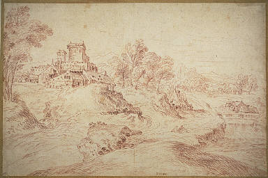 [Landscape with a Castle, Edge of a River with Group of Buildings on the Left (after Venetian 16th C. Landscape)]