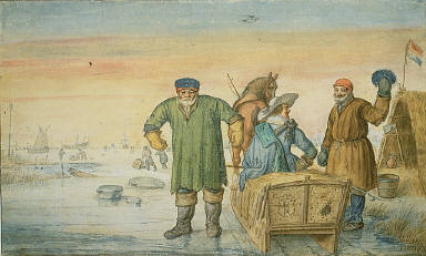[Two Old Men beside a Sled Bearing the Coats of Arms of Amsterdam and Urtecht, The Amsterdam-Utrecht Mail Sled, The Amsterdam Mail Sled, Winter Scene, with the Mail Sled, Winter Scene]