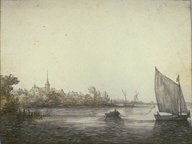 [River Landscape, View of Dordrecht, Landscape with a River and a Church]