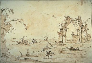 [Capriccio with a Squall on the Lagoon, Capriccio with Ruined Gate, Lagoon and Barques]