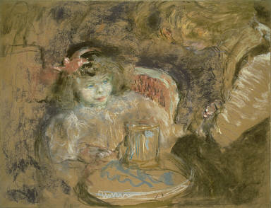 [Girl and Woman Seated at Table, Girl with Glass]