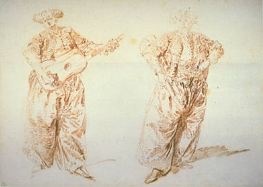 [Two Studies of a Guitar Player in Turkish Costume (Le Ture Amoureaux), Two Clowns, One Holding a Guitar, Fianl Published Work: Figure on right used twice: once for companion piece to La Belle Grecque, once for wall decoration in the house of M. de Boullongne on the Place Vendome, now in the Musee des Arts Decoratifs, Paris]